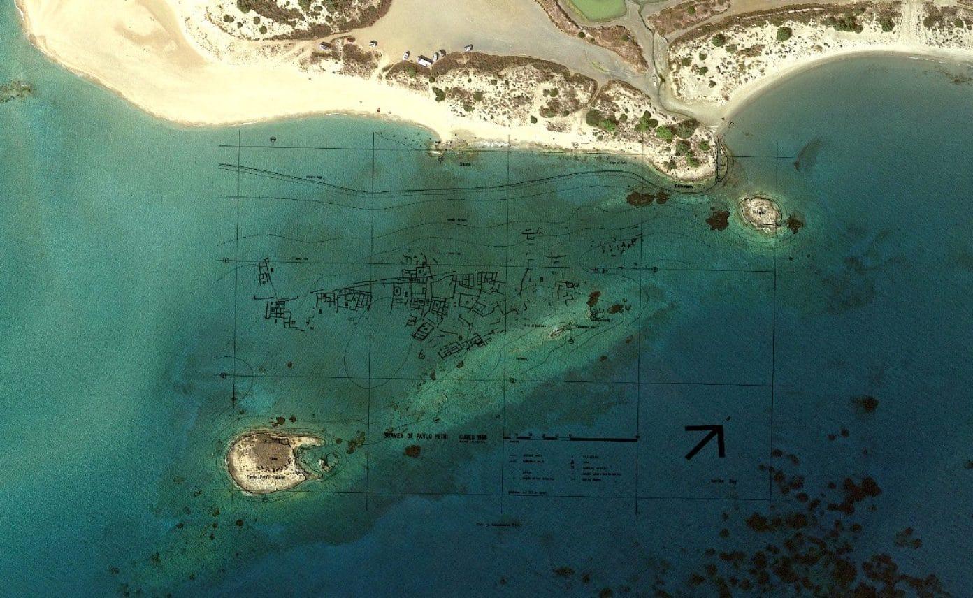 Map of sunken city Pavlopetri